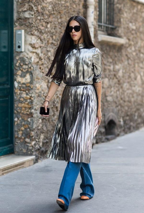 Как носить платье зимой? С брюками! 1