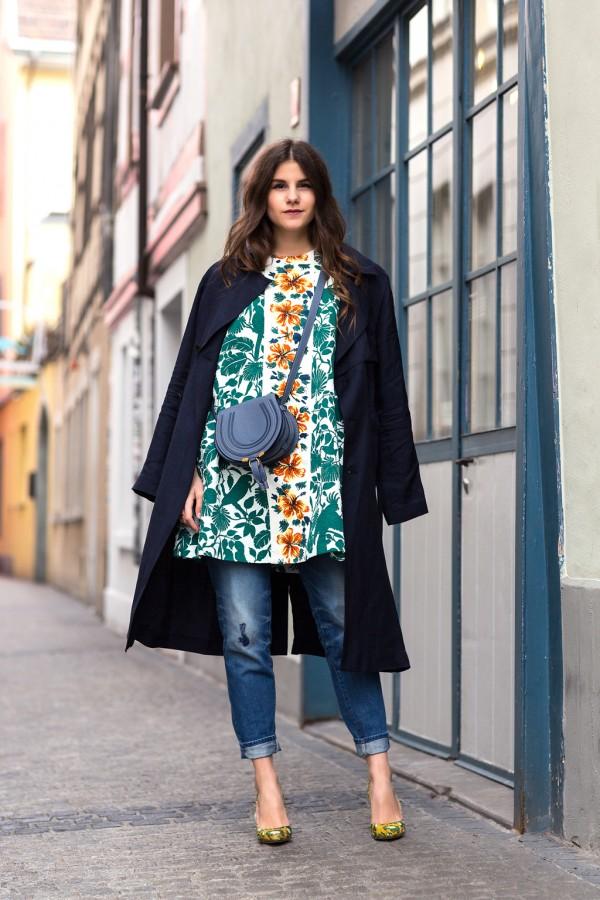 Оригинальное решение: платье с джинсами 1