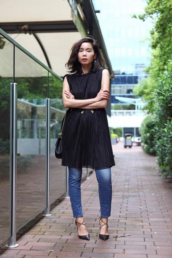 Оригинальное решение: платье с джинсами 5
