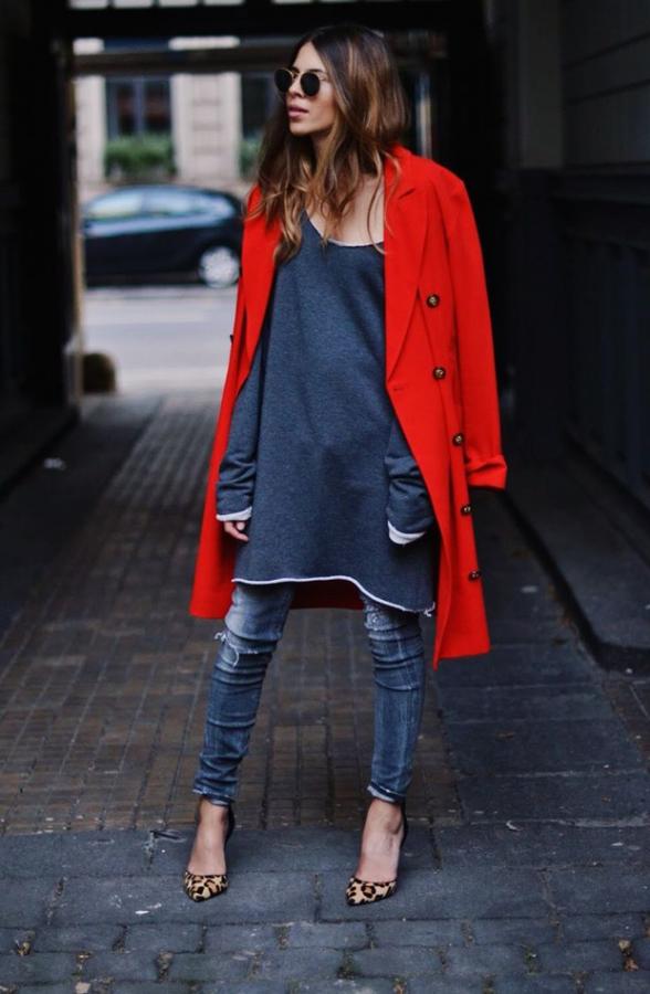 Оригинальное решение: платье с джинсами 3