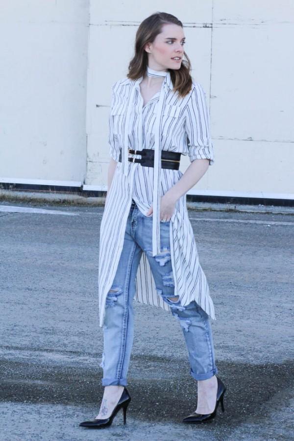 Оригинальное решение: платье с джинсами 4