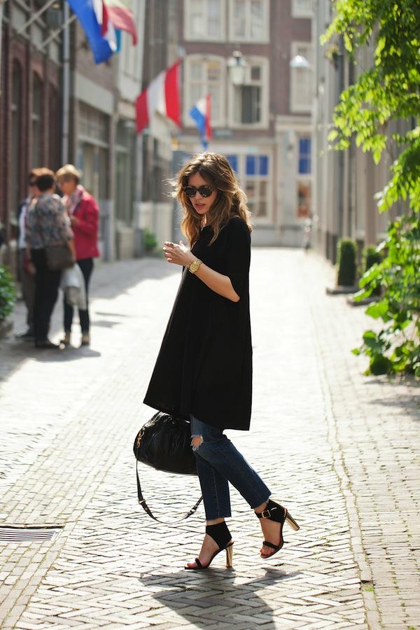 Оригинальное решение: платье с джинсами 10