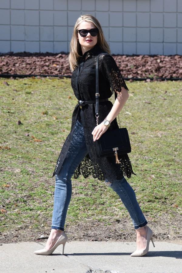 Оригинальное решение: платье с джинсами 0