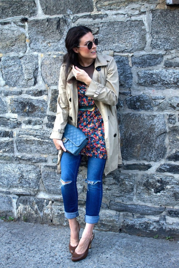 Оригинальное решение: платье с джинсами 7