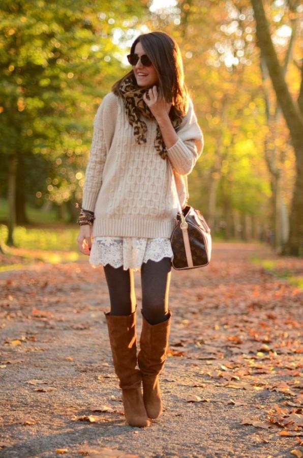 Воплощение нежности: мягкий свитер поверх платья 4