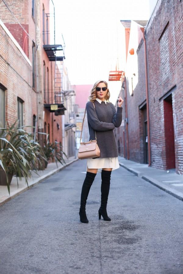 Воплощение нежности: мягкий свитер поверх платья 6