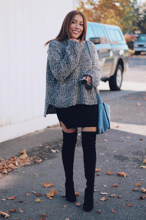 Воплощение нежности: мягкий свитер поверх платья 3