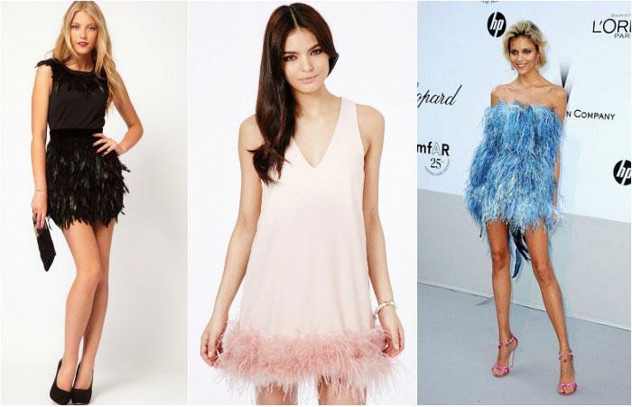 Платье короткое перьями