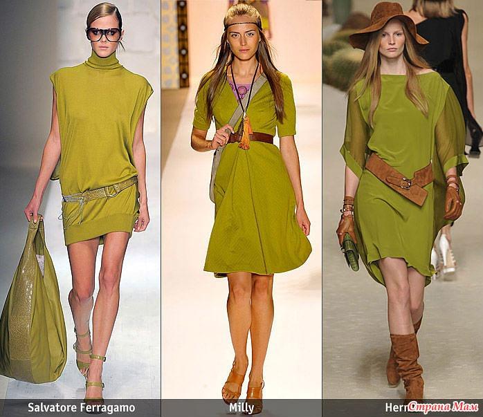 С оливковым платьем что одеть