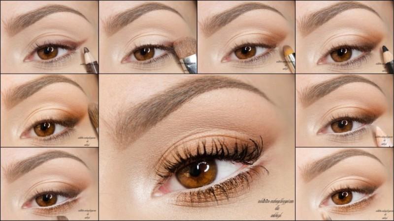 Макияж в коричневых тонах для карих глаз пошагово