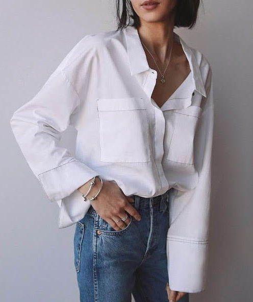 классическая рубашка с джинсами